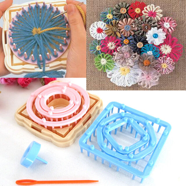 UK 9X DAISY PATTERN MAKER FLOWER KNITTING LOOM WOOL YARN NEEDLE CROCHET CRAFT