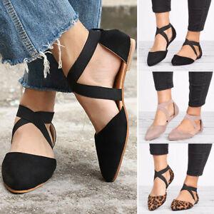 Ladies-Women-Ankle-Strap-Ballet-Flats-Criss-Cross-Shoes-Casual-Pump-Shoes-Size