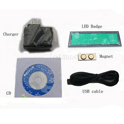 Green Moving Scrolling LED Name Badge Tag Programmable Message,89mm*26mm
