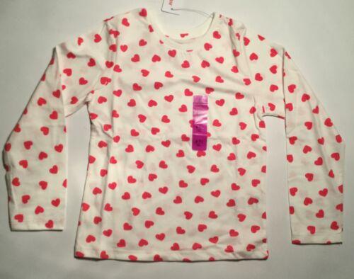 Girls Long Sleeve White T Shirt with Dark Pink Heats details