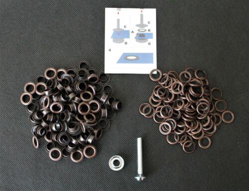 Ösen mit Scheiben 14 mm Ø inklusive Werkzeug und Anleitung 25 Stück in Altkupfer