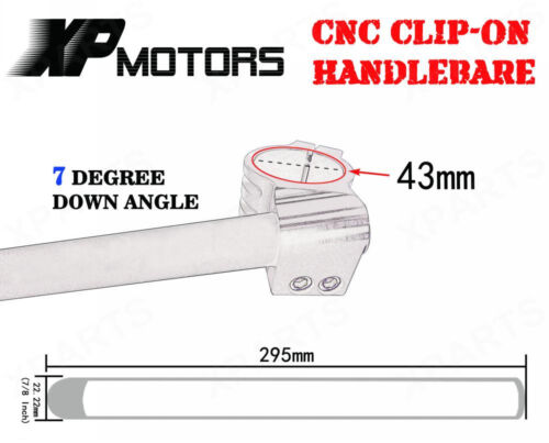 "7//8/"" HandleBar Clip-Ons 43mm Black For Yamaha YZF-R6 1999-2004 YZF-R6S 2006-2010"