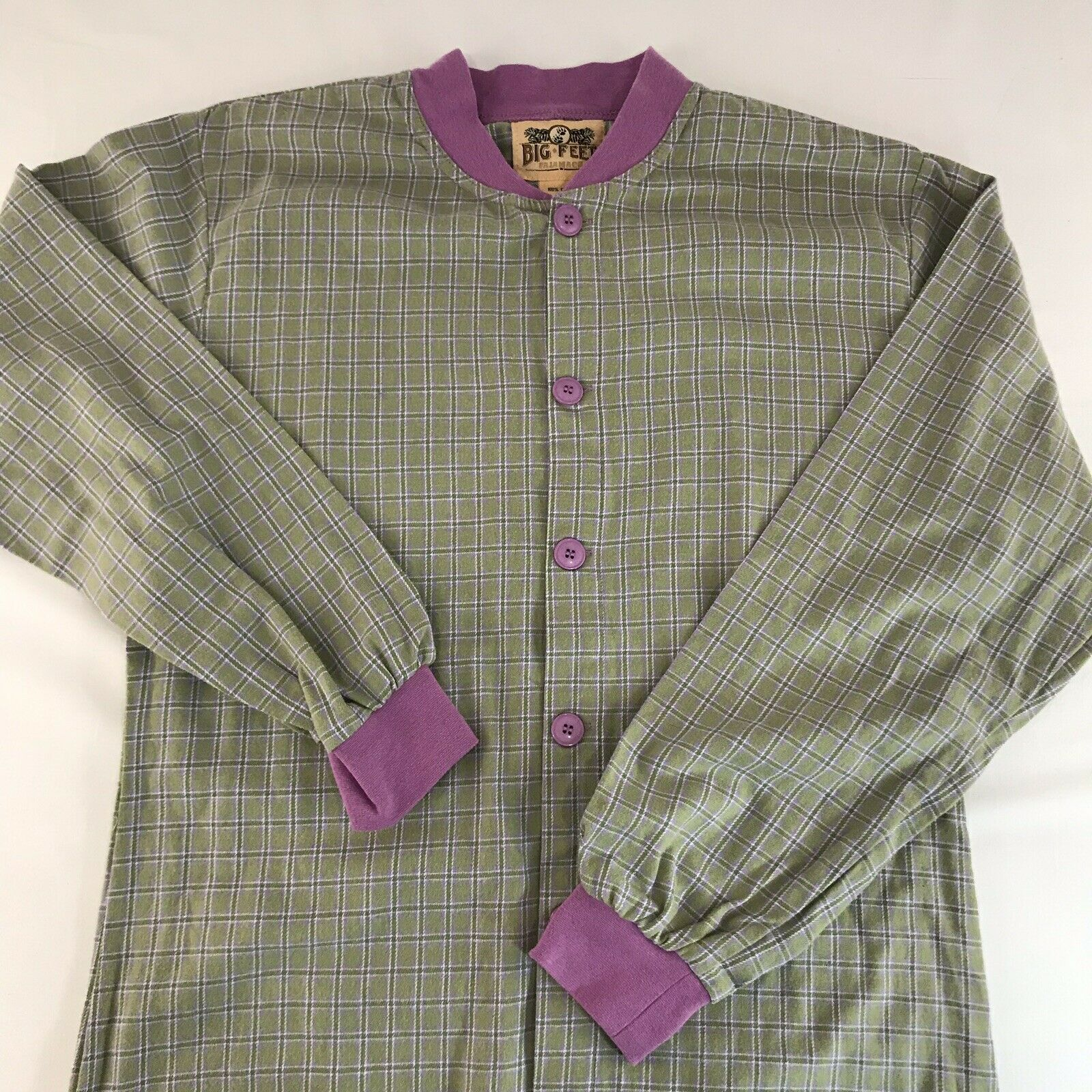 Big Feet Pajama Co Adult Small Footed PJs Plaid Green Purple Footie