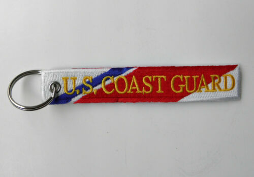 US COAST GUARD USCG VETERAN EMBROIDERED KEY RING BAG TAG STRAP 5 X 1 INCHES