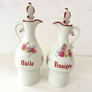 * Bouteille Ou Burette Huile & Vinaigre Bouchon Porcelaine Blanche A Fleurs Qvokji1a-08002607-168517744