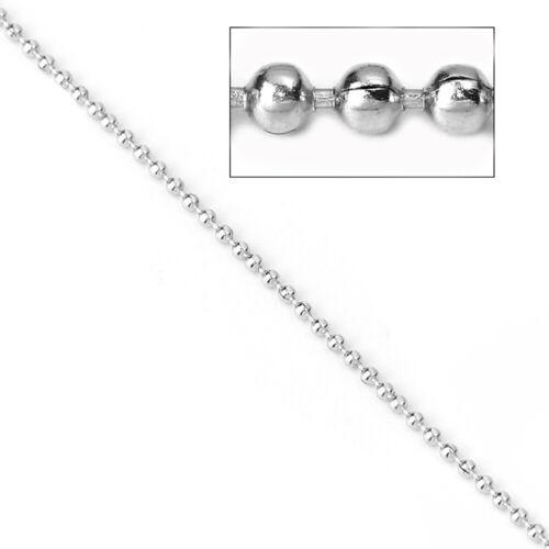 FD644 10M or 32ft Length BULK Silver Tone Ball Chain 1.5mm
