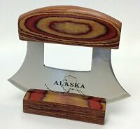 Alaska Ulu Knife Natural Exotic Wood Stand Etched Blade, New, Free Shipping on Sale