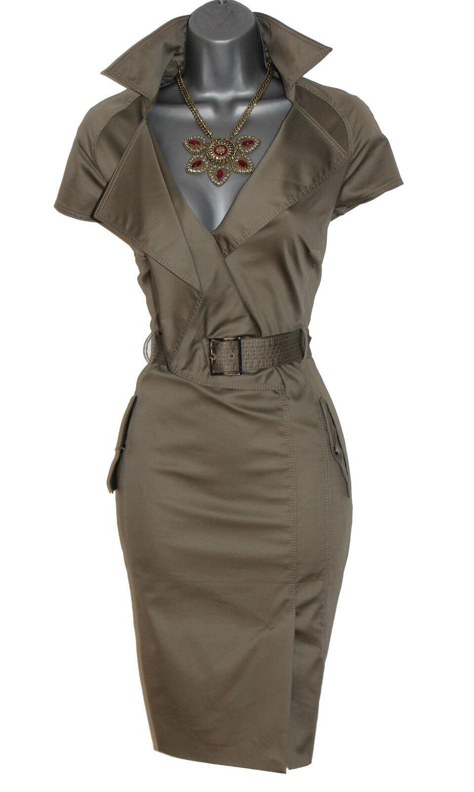 Karen Millen Khaki Military Safari Shirt Trench Office Casual Pencil Dress