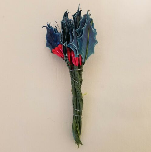 144 pcs VTG Millinery Blue Lacquer Holly Leaf Leaves /& Red Berries Hats Crafts