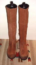 """BRONX """"Snuggle Lee"""" Brick Brown Leather TALL Field Boots Sz. 38/7.5 EXCELLENT!"""