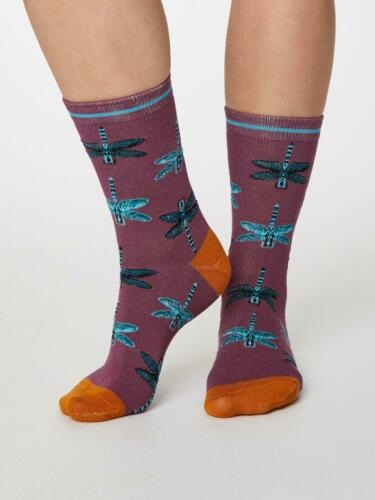 Ladies Soft Bamboo Insetto Socks Size 4-7 Tulip Purple by Thought Socks