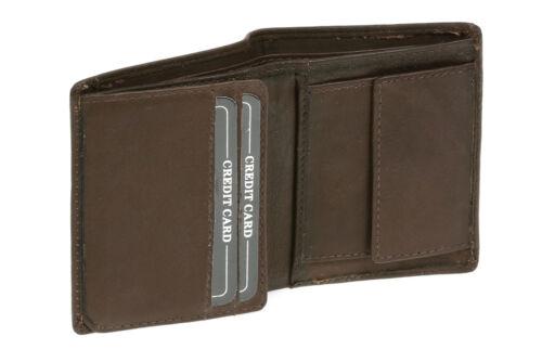 Mini Geldbörse im Hochformat LEAS Echt-Leder Portemonnaie braun