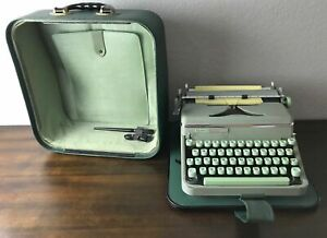 Hermes 2000 typewriter Green Vintage Swiss Works Case