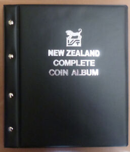 NEW-ZEALAND-COMPLETE-COIN-ALBUM-BLACK-COLOUR-1933-2017-with-Printed-Backings