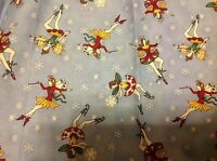 Debbie Mumm Fairies And Snowflakes On Blue Fabric 1 Yd 31.5 Inches Free Ship