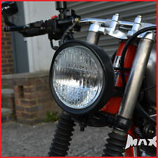 Black Universal Motorcycle Headlight / Headlamp - 12 Volt H4 / 55w Halogen Bulb