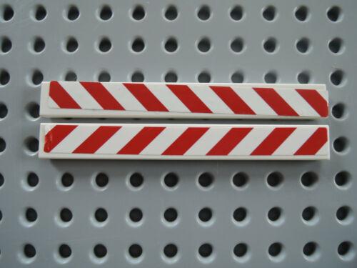 Lego 2 x Fliese 4162pb097 weiß 1x8 Sticker rote Warnbalken links rechts 60017