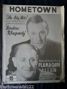 ORIGINAL SHEET MUSIC - HOMETOWN - LONDON RHAPSODY - FLANAGAN & ALLEN