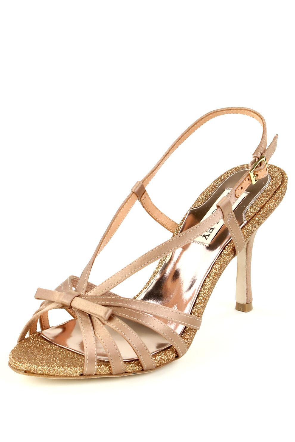 Badgley Mischka WRIGHT Sandals Heels Natural Satin Brand New in Box Retail  175