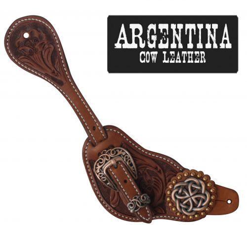 MENS Showman silverina Cow Leather Spur Straps w  Copper Celtic Knot Conchos NEW