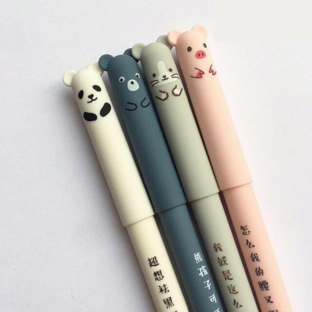 Lot 4pcs Peanuts Licenced Snoopy Erasable Gel ink Pens Black Pen Kawaii Cute M/&G