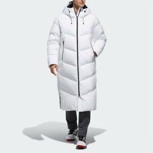 bdc8727457dd New Adidas Golf Mens LONG GOOSE DOWN PARKA WHITE CK8617 PUFFER M ...