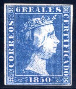 Sello-de-Espana-1850-Isabel-II-n-4-6-reales-azul-Certificado-Comex-ref-A1