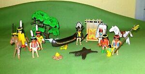 Playmobil-Spielset-Konvolut-Zubehoer-Indianer-Indianersippe-Haeuptling-Pferde