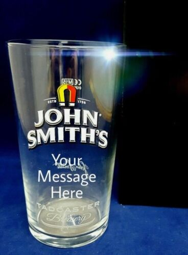 PERSONALISED ENGRAVED JOHN SMITHS PINT GLASS WEDDING DADS BIRTHDAY GIFT BOXED