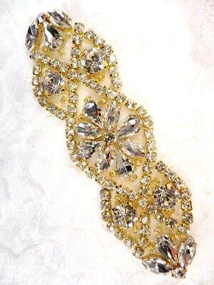 Gold Beaded Rhinestone Applique Crystal Stones Bridal Accessory DIY GB618