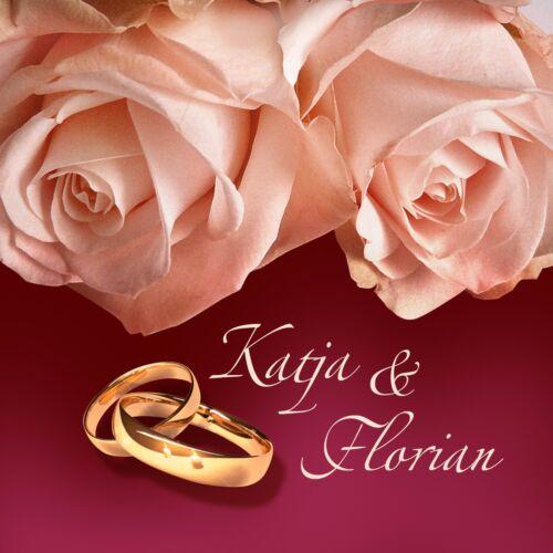 57 rot querformat Einladungskarten Hochzeit Klappkarten personalisiert