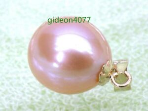 new 11*13mm Drop Pink Akoya Pearl Pendant 14K Solid Yellow Gold