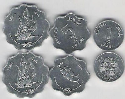 Maldives 1984 3 coin set Fish Fao Ship Palmtree UNC 1 5 10 laari
