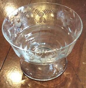 4-HARD-TO-FIND-ROCK-SHARPE-ROMANCE-ART-DECO-Low-Sherbet-Bowls-Etched-Crystal