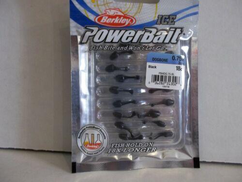 """Berkley Powerbait Ice .75/"""" Dogbone black 18 count package NIP"""