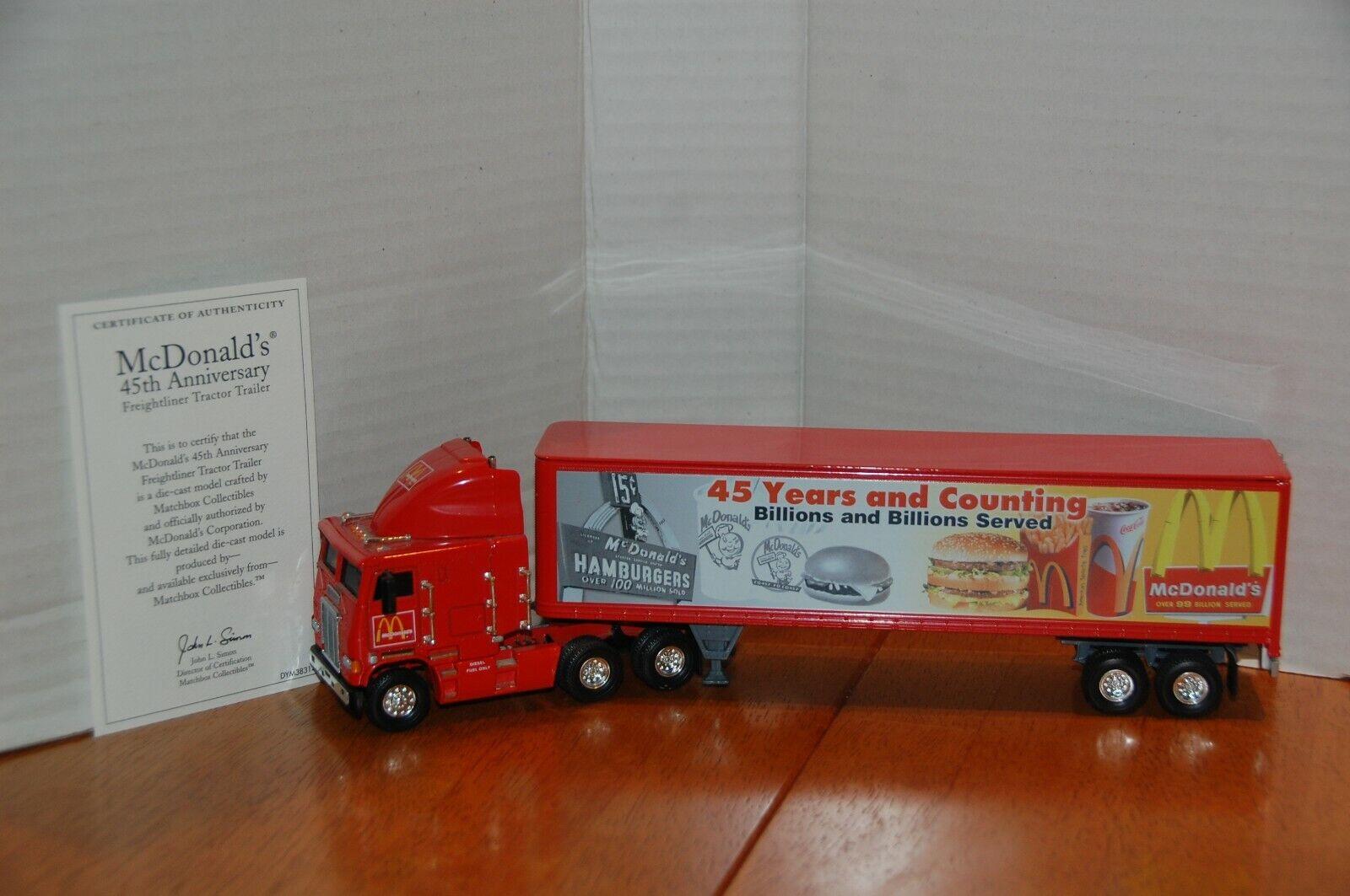MATCHBOX McDonalds 45 Anniv. Freightliner tracteur TRL dym 38314