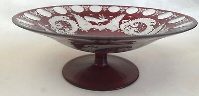 "Original Ruby Bohemian Compote 7 1/8"" D X 2 5/8"" H Deer Bird Bohemian/czech Glass"