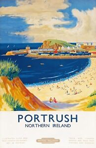 TX333-Vintage-Portrush-Northern-Ireland-British-Railway-Travel-Poster-A2-A3-A4