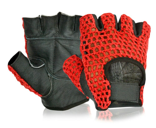 Leather Bus Driving Gloves Red Crochet Half Finger Wheelchair Weight Lifting