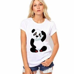 NEW-Women-s-Print-Cartoon-Panda-Short-Sleeve-T-shirt-Casual-2XS