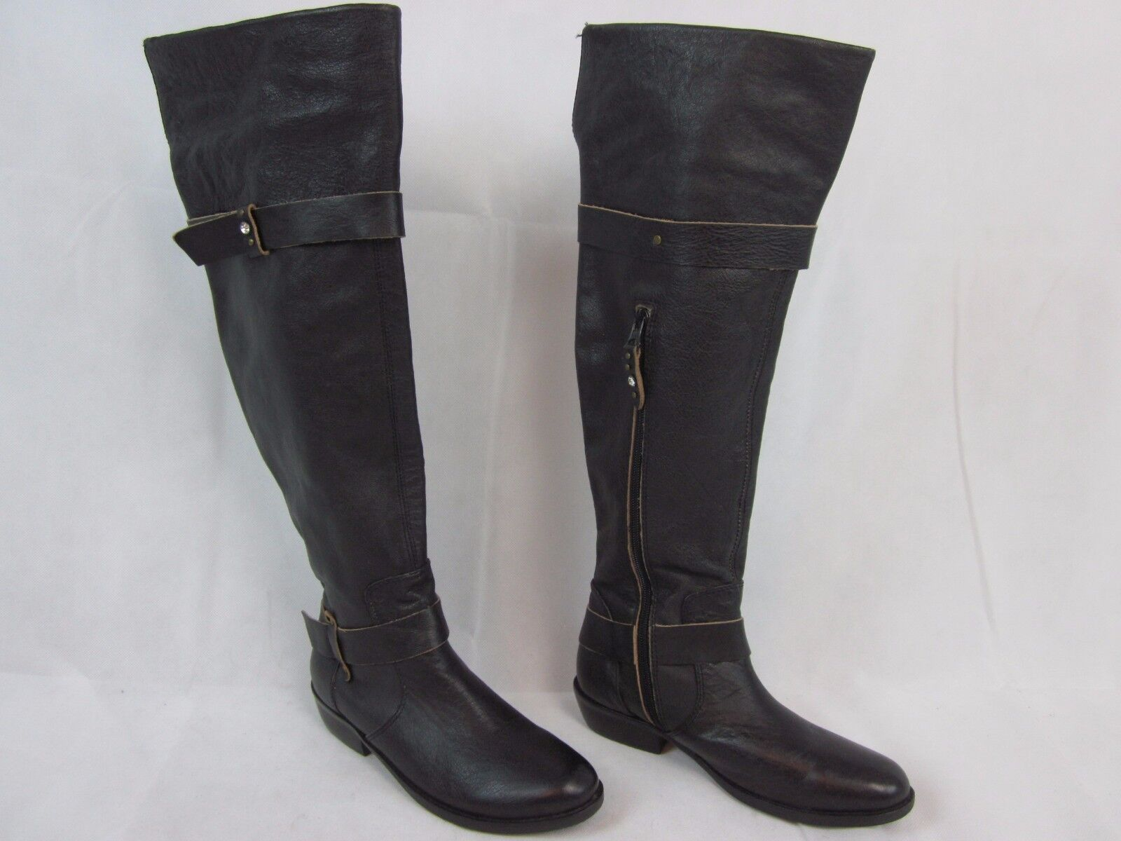 Anthropologie Faryl Robin Tall Black Leather Bling Riding boots Women 6 M- EUC