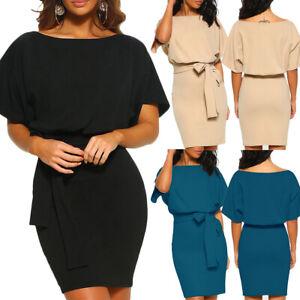 Women-Short-Sleeve-Casual-Pocket-Midi-Dress-Short-Sleeve-Bodycon-Evening-Party
