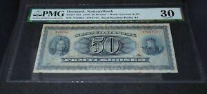 PMG Graded Denmark, Nationalbank 1956 50 Kroner Banknote p45a VF30
