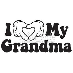 I Love Grandma HEAT PRESS TRANSFER for T Shirt Tote Sweatshirt Fabric Block 400i