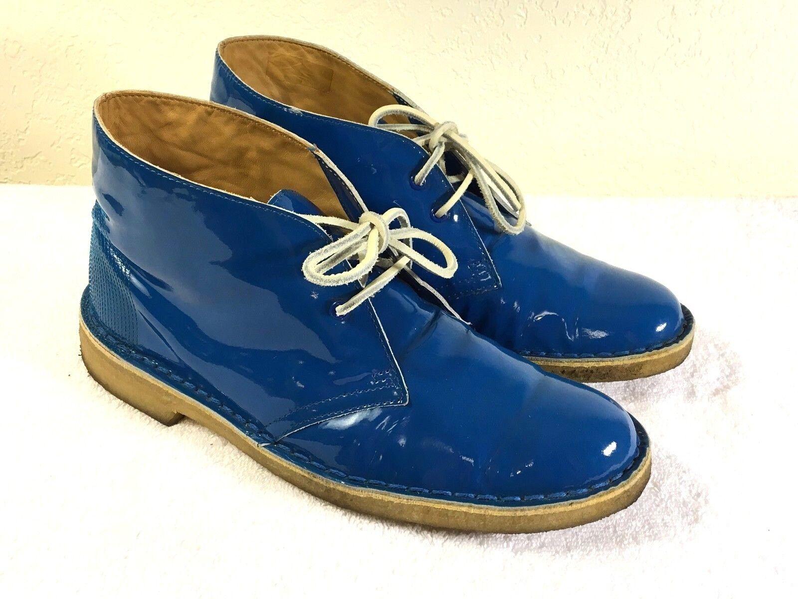 Clarks Originals women's glossy bluee desert boots size 9.5 Nice shape