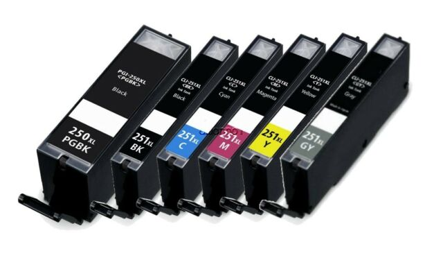 6pk For Canon PGI-250XL CLI-251XL Ink Cartridges For PIXMA iP8720 MG6320 w/ grey