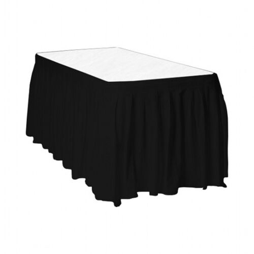 Touch of Color Easy Stick Plastic Table Skirt 14-Feet black