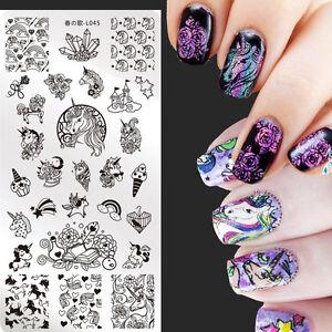 Nail art stamping plates unicorn image manicure stamp templates image is loading nail art stamping plates unicorn image manicure stamp prinsesfo Choice Image