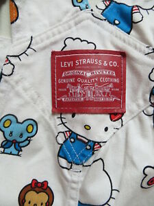 Levi-039-s-Latzhose-Latz-Jeans-Hose-Gr-M-W-34-L-32-Marlene-Hello-Kitty-LIMITED