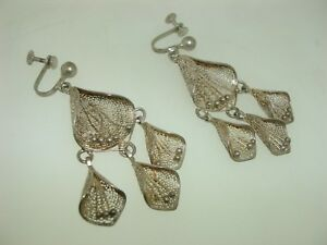 UNIQUE-VINTAGE-1940-50-039-S-ERA-SPUN-SILVER-DANGLING-EARRINGS